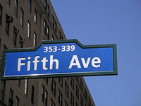 Fifth Avenue Blue Sign